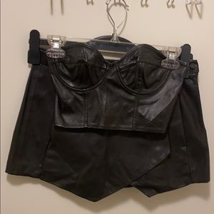 LIKE NEW LEATHER SKORT AND BRA TOP OUTFIT BUNDLE!
